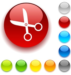 Scissors button vector