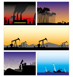 5 set pictures bad ecology vector
