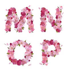 Spring alphabet with cherry flowers mnop vector
