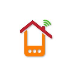 Orange phone house vector