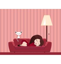 Sleeping girl vector