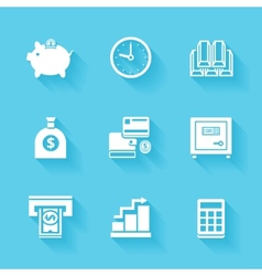 Set of white finance and money icons vector
