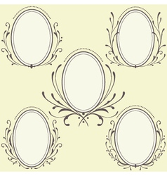 Oval floral frames ornament vector
