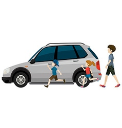 Kids running near the parked vehicle vector