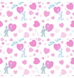 Seamless pattern with men and pink hearts vector
