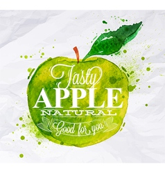Poster watercolor apple green vector