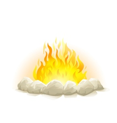 Campfire with stones vector