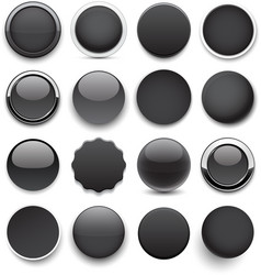 Round black icons vector