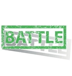 Green outlined battle stamp vector