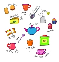 Bright colors tea cup and teapot vector