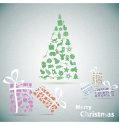 Merry christmas tree with gifts in snow eps10 vector