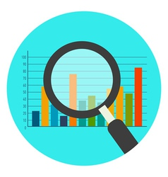Analytics icon flat style isolated in colored vector