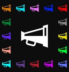 Megaphone soon loudspeaker icon sign lots of vector