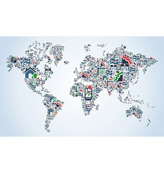 Property service icons world map vector