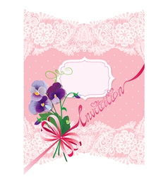 Valentines day or wedding card with pansy flowers vector