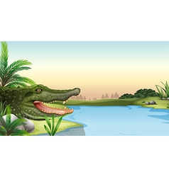 A reptile at the river vector