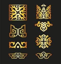 Golden vintage floral elements for your design vector