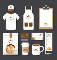 Restaurant cafe set flyer menu package t-shirt cap vector