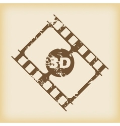 Grungy 3d film icon vector