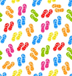 Seamless pattern colorful pairs of flip-flops vector