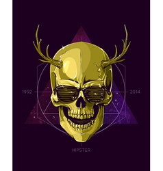 Hipster skull with horns vector