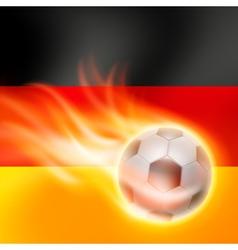 Burning football on germany flag background vector