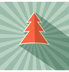 Paper tree retro on green background vector