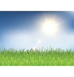 Grass and sunny blue sky 2303 vector