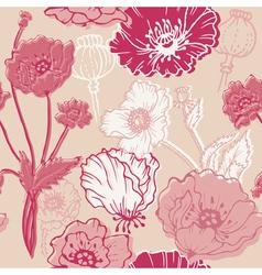 Seamless poppy background vector