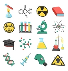 Laboratory chemistry icon set vector