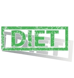 Green outlined diet stamp vector