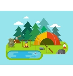 Outdoor recreation fishing camp vector