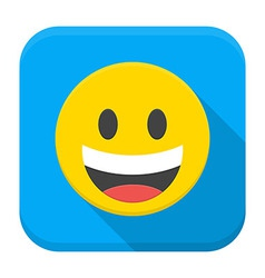 Laughing yellow smile flat app icon with long vector