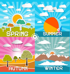 Four seasons - spring - summer - autumn and vector