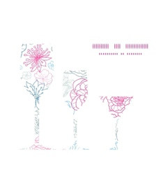 Gray and pink lineart florals three wine vector
