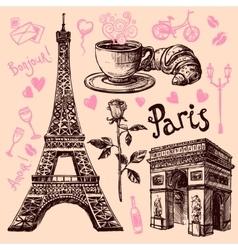 Paris hand drawn symbols set vector