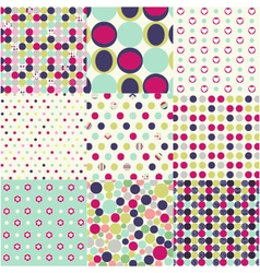 Seamless patterns polka dot set vector
