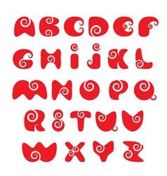 Abc - english alphabet - red funny spiral cartoon vector