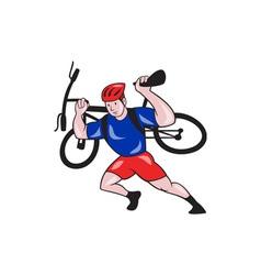 Cyclist carry mountain bike on shoulders cartoon vector
