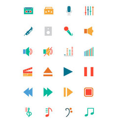Music colored icons 1 vector