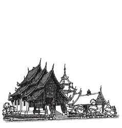 Lanna temple sketchbook vector
