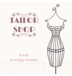 Vintage iron mannequin tailor shop background vector