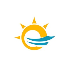 Sun and sea symbol vector