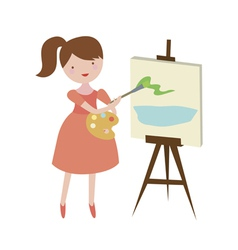The girl the artist draws a landscape on a canvas vector