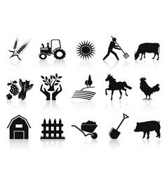 Black farm and agriculture icons set vector