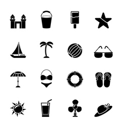 Silhouette sea and holiday icons vector