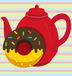 Donut with tea vector