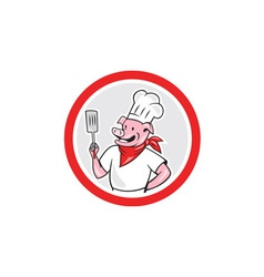 Pig chef cook holding spatula circle cartoon vector