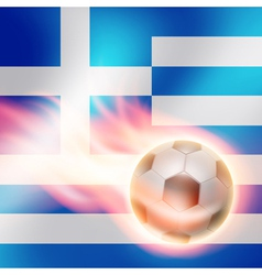 Burning football on greece flag background vector