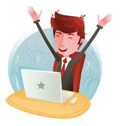Profit businessman on computer vector